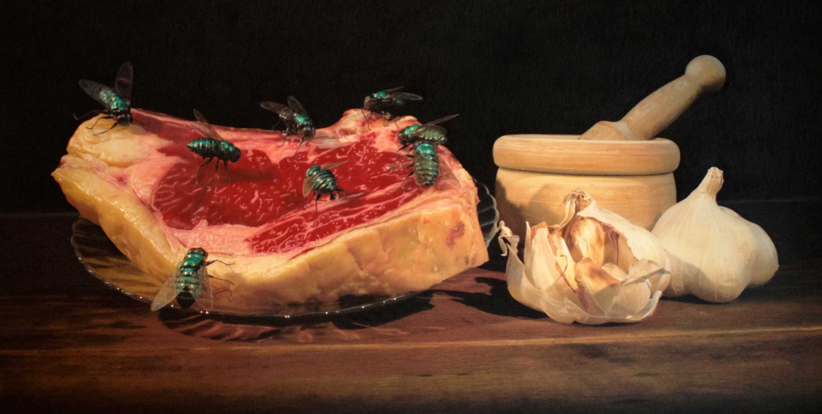 Still life of the Ribeye 2014Drawing 52x98'5cm ©Ana de Alvear